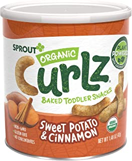 Sprout Organic Curlz Toddler Snacks, Sweet Potato & Cinnamon, 1.48 Ounce Canister (Single)