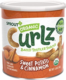 Sprout Organic Curlz Toddler Snacks, Sweet Potato & Cinnamon, 1.48 Ounce Canister (1..