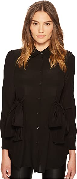 Boutique Moschino - Side Bow Silk Button Up Top