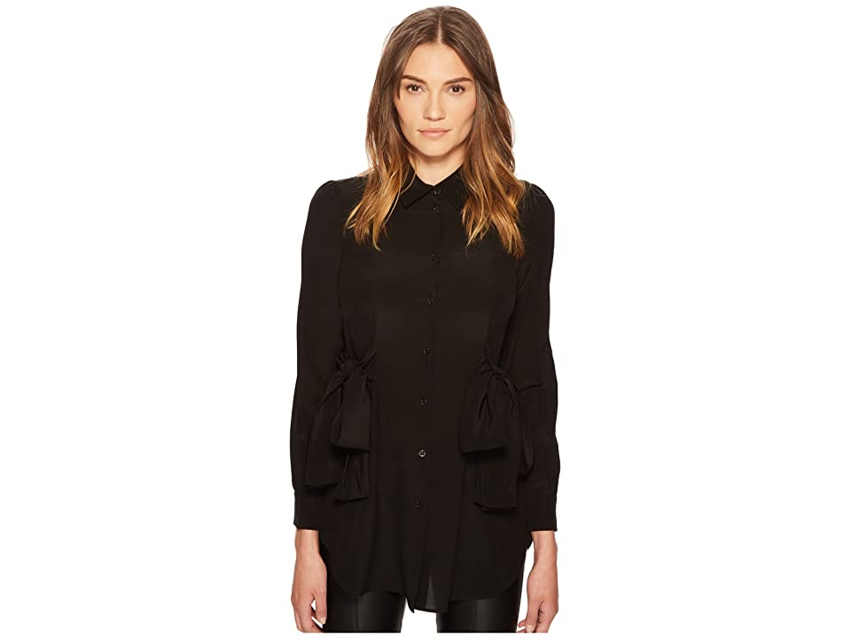 Boutique Moschino Side Bow Silk Button Up Top (Black) Women