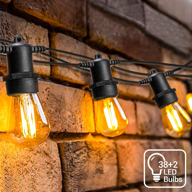 Guirnalda de luces LED de jardín de 128 pies al aire libre, OxyLED IP65, resistente al
