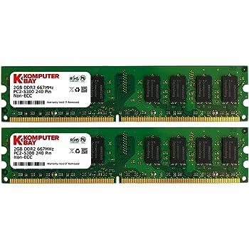 Komputerbay 日本進出記念 メモリ 2枚組 DDR2 667MHz PC2-5300 2GBX2  DUAL 240pin DIMM デスクトップ パソコン用 増設メモリ 4GB デュアル
