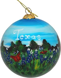 Hand Painted Glass Christmas Ornament - Texas Bluebonnets & Butterflies