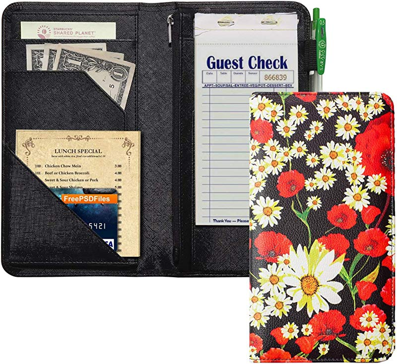 Server Book With Zipper Pocket 5x9 Waitress Book With Money Pocket Magnetic Closure Pocket For High Volume Server Wallet Fit Waitress Apron Red Flower