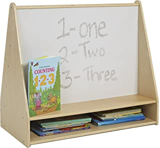 ECR4Kids Birch Pic-A-Book Display Stand with Dry Erase White Board and Storage, Wood Book Shelf Organizer for Kids, Natural