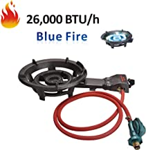 ARC USA, Super Propane Burner Stove, Propane Heavy Duty Cast Iron Burner, Portable Large Camping Stove BBQ with Hose & Regulator, Perfect for Outdoor Cooking