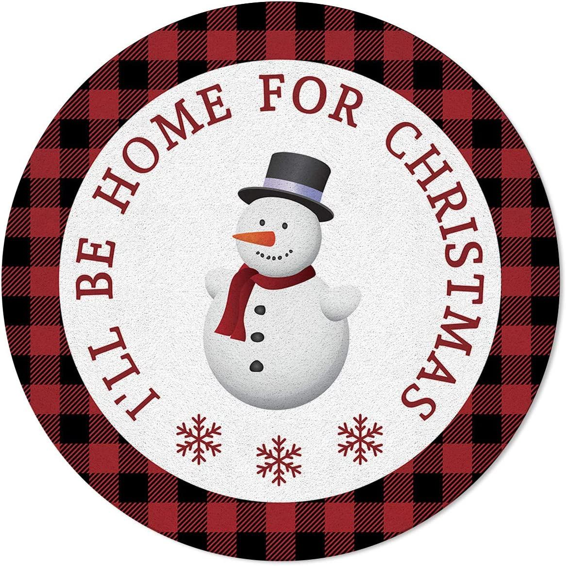 OneHoney Round Area Rugs 4ft Thro Snowman List price Christmas Special Campaign Indoor Merry