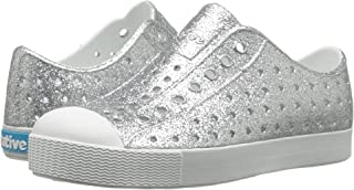 Native Kids Jefferson Bling Junior-K Slip-On,Silver Bling Glitter/Shell White, J1 US Little Kid