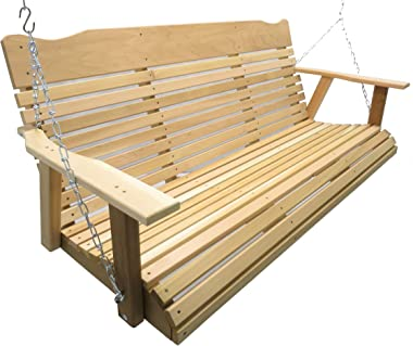 Kilmer Creek 5 Foot Natural Cedar Porch Swing, Amish Crafted, Includes Chain & Springs