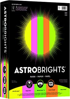 Wausau Astrobrights Writing Paper, 8.5 X 11 Inches, Neon Assortment, 500 Count (20270)