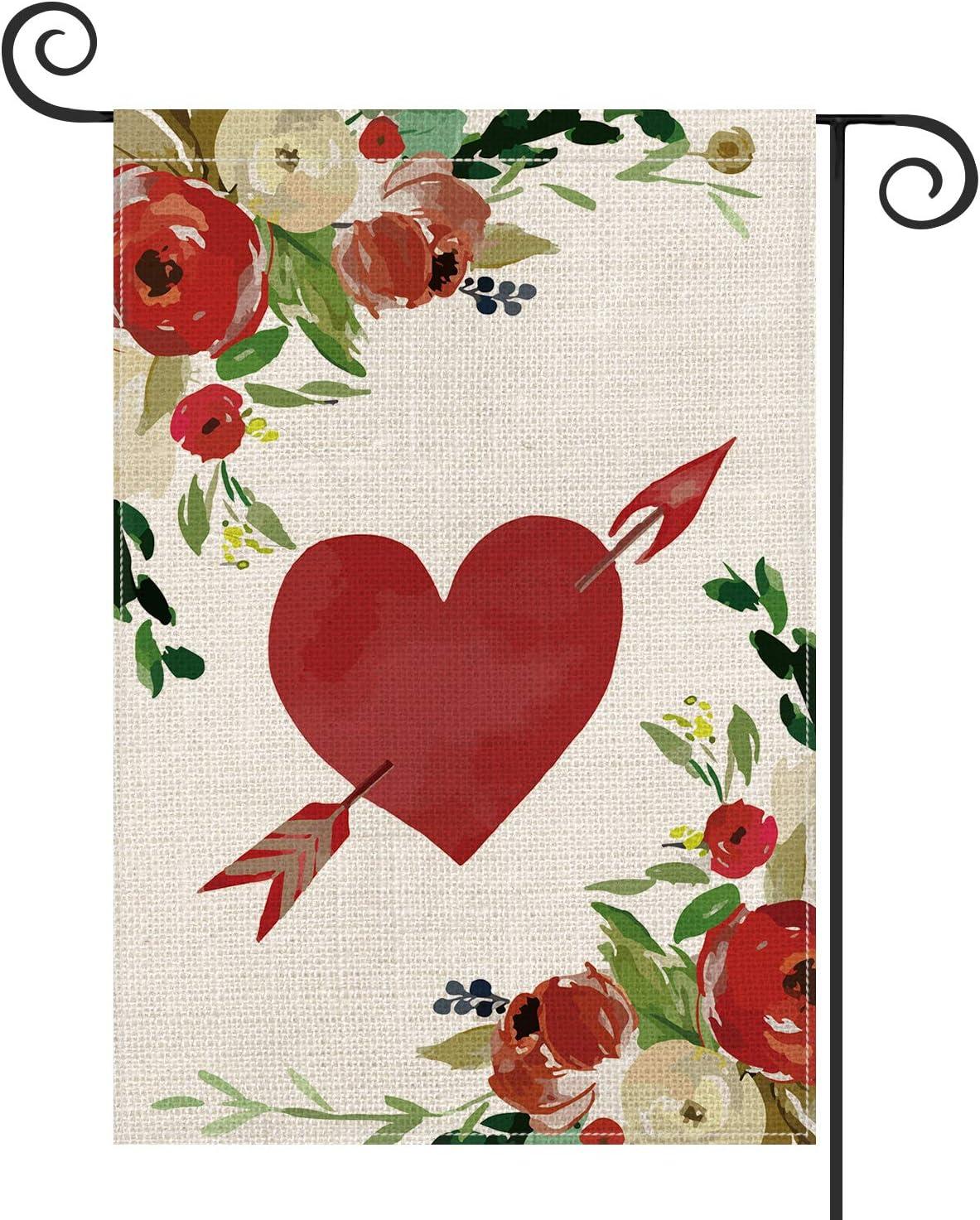 AVOIN Love Heart Arrow Garden Flag Vertical Double Sized, Flowers Rose Holiday Valentine's Day Wedding Farmhouse Yard Outdoor Decoration 12.5 x 18 Inch