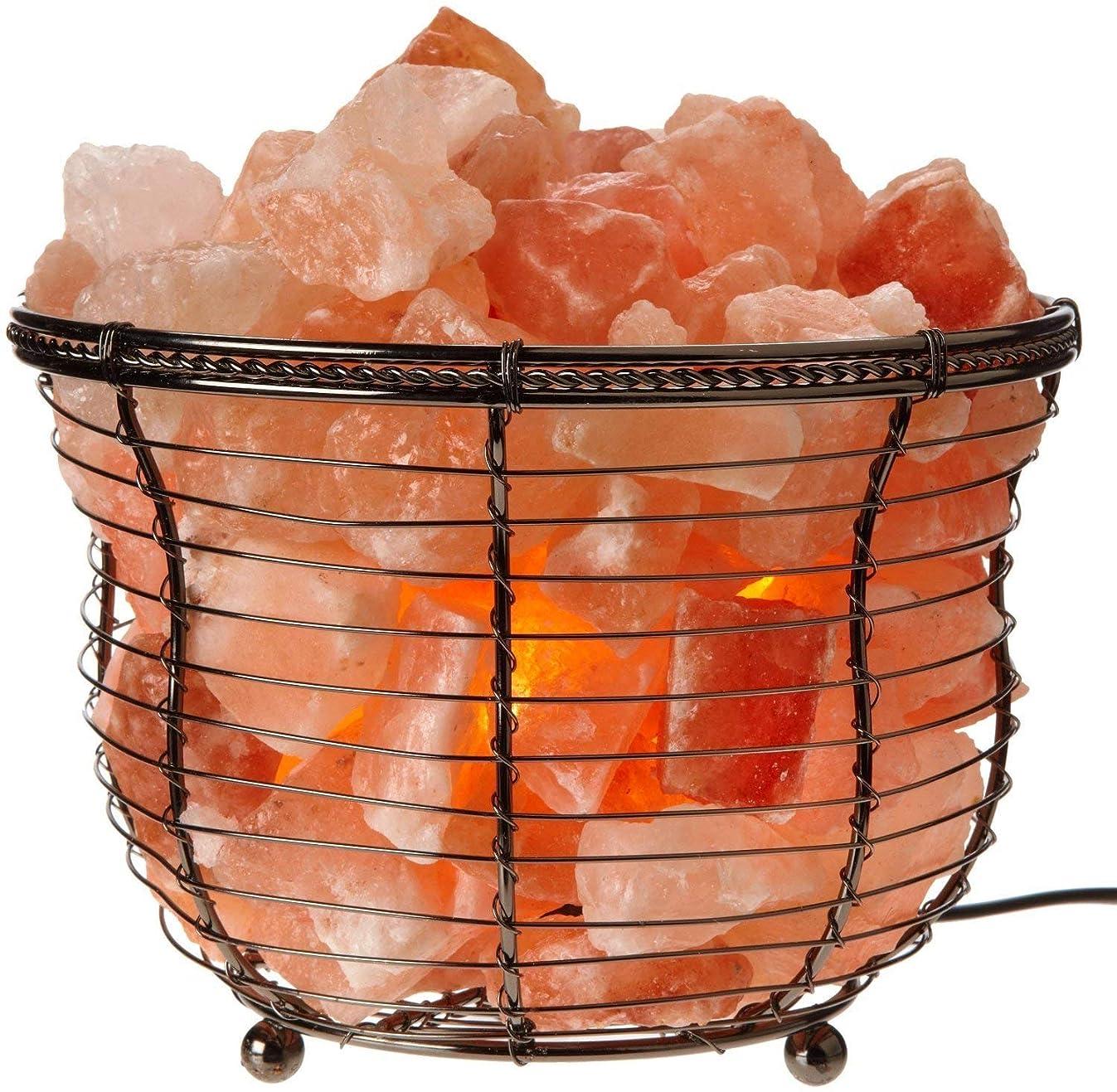 Himalayan Glow HS-1301B Tall Round Natural Salt Lamp, 8-10 LBS, Amber Glow