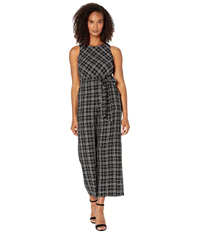 Vince Camuto Sleeveless Belted Even Plaid Jumpsuit (Rich Black) Women