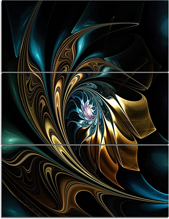 Designart Brown Blue Fractal Flower In Black Oversized Abstract Canvas Art 28x36 3 Piece 28 H X 36 W X 1 D 3p Home Kitchen Amazon Com