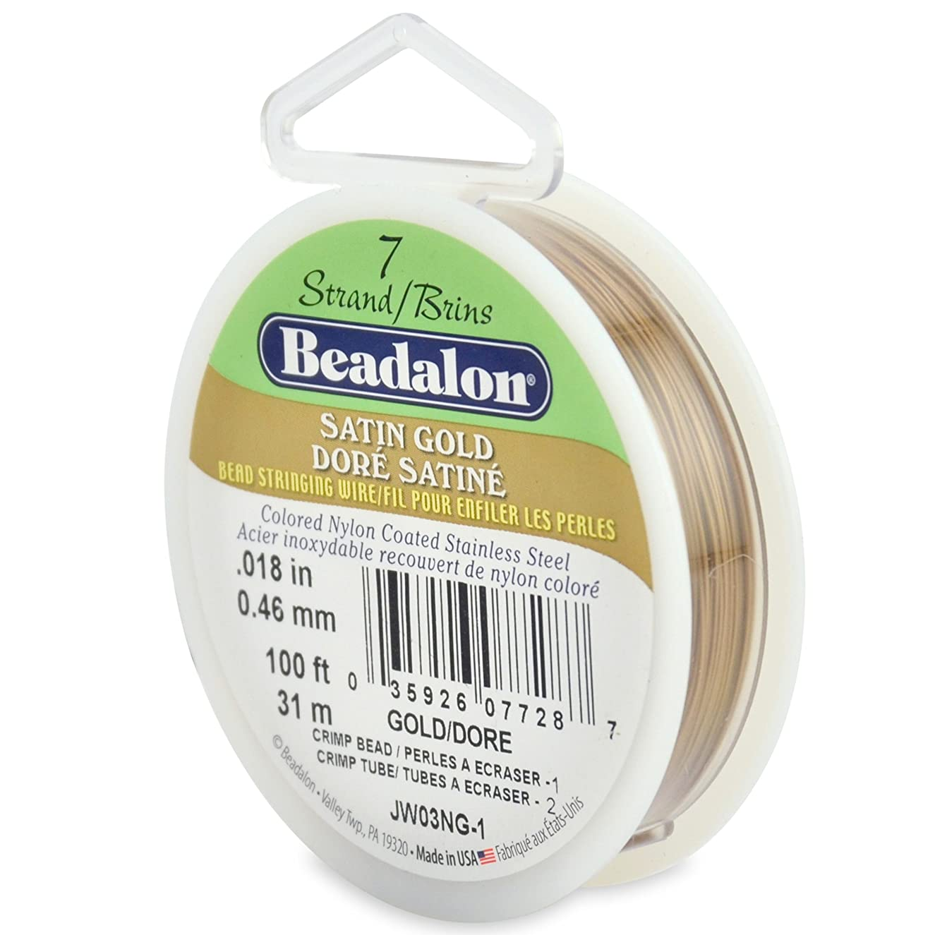Beadalon 7-Strand Bead Stringing Wire, 0.018-Inch, Satin Gold, 100-Feet