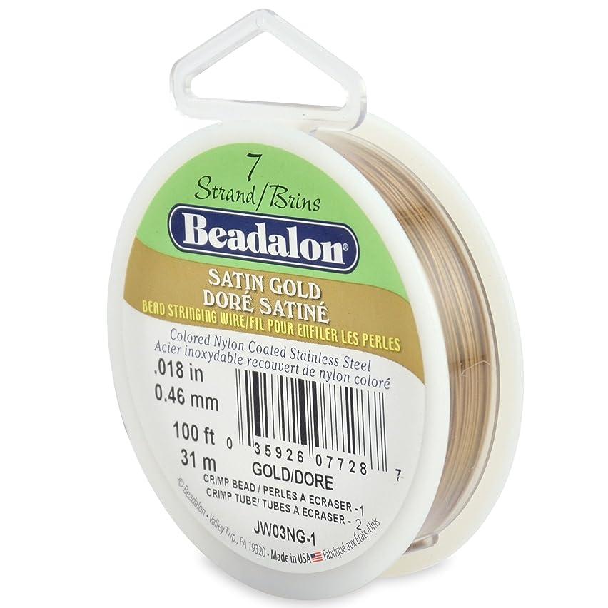 Beadalon 7-Strand Bead Stringing Wire, 0.018-Inch, Satin Gold, 100-Feet