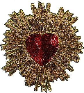 2PIECE Perles Rouge Doré à paillettes Motif cœur coupons de tissu Broderie Paillettes Applique badges Vêtements décoré à c...