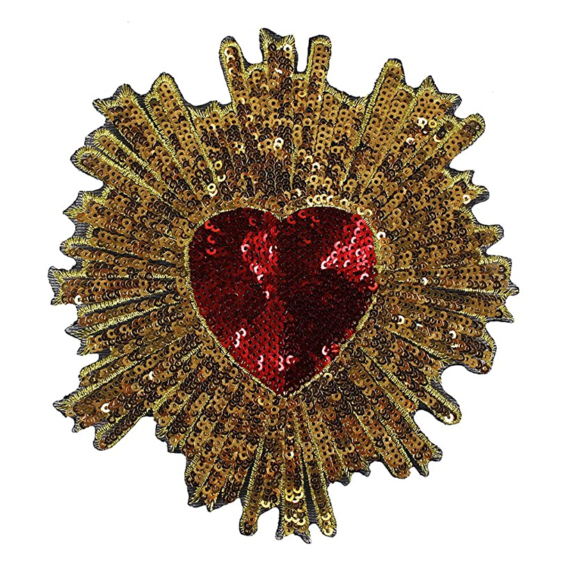 2pieces Gold Sequins Red Heart Embroidery Applique Patches Sew on Dress T-Shirt Apparel Accessories TH686