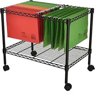 Finnhomy Premium 1-Tier Metal Rolling File Cart for Letter Size and Legal Size Folder, Black