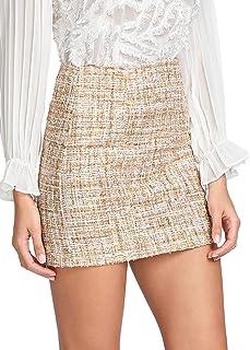 WDIRARA Women's Tweed Mid Waist Above Knee Raw Hem Casual Plaid Mini Skirt