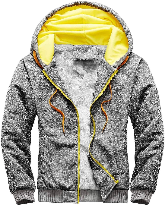 Huangse Men's Winter Fleece Hoodie Thick Varsity Baseball Jacket with Hood Sherpa Fleece Lined Outwear