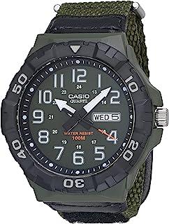 ساعة كاسيو كوارتز بسوار من النايلون، اخضر 28.4 كاجوال موديل MRW-210HB-3BVCF