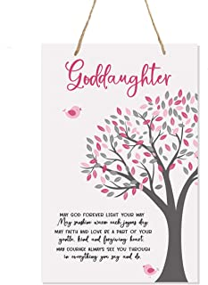 """LifeSong Milestones Baptism Christening Modern Rope Tree Sign for Son Daughter Godchild Godson Goddaughter Child First Holy Communion Gift Mother Father Godparents 8""""x 12"""