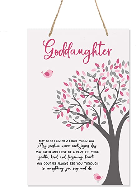 LifeSong Milestones Baptism Christening Modern Rope Tree Sign For Son Daughter Godchild Godson Goddaughter Child First Holy Communion Gift Mother Father Godparents 8 X 12 May God Forever