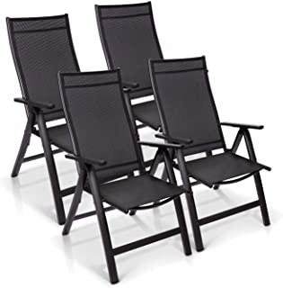 Homeoutfit24 Sun Garden Premium Line - Juego de 4 sillas de jardín con respaldo alto London en antracita, sillas plegables de aluminio