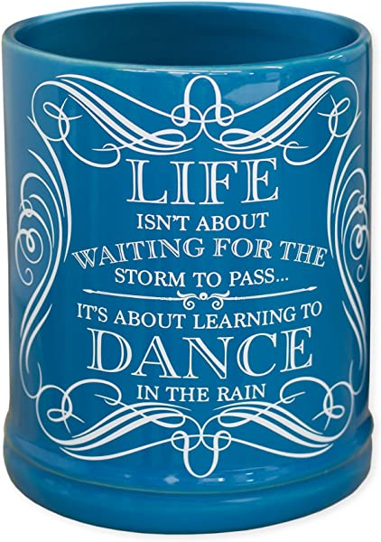 Elanze Designs Life Learning Dance In The Rain Blue Stoneware Electric Jar Candle Warmer