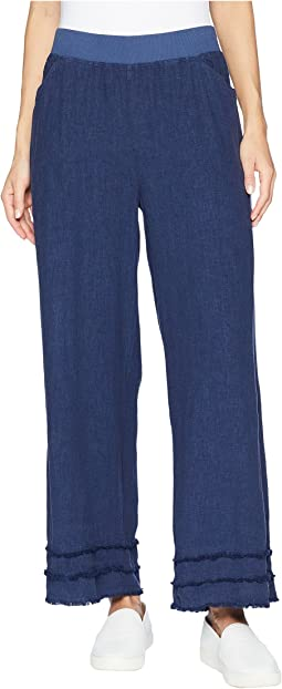 Linen Rayon Cropped Pants with Fringe Trim