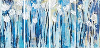 Ink+Ivy, Ocean Breeze Blossom - Wall Art 4 Piece Set Gel Coated CanvasEasy Hang Setup, Modern Contemporary Design, Floral Triptych Painting Living Room Décor, Blue Multi, 15 x 30 x 1.5
