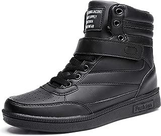 Catata Women's Hidden Heel Sneakers PU Leather High Top Sports Shoes Black
