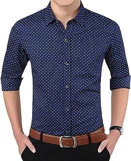 قمصان رجالي من YTD 100% قطن كاجوال مقاس ضيق طويل الأكمام بأزرار للأسفل مطبوعة