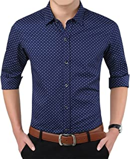 Mens 100% Cotton Casual Slim Fit Long Sleeve Button Down Printed Dress Shirts