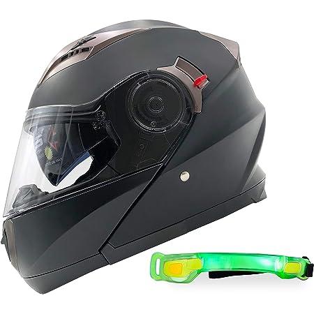 Nathut Motorradhelm Klapphelm Mit Led Licht Fullface Helm Integralhelm Mit Sonnenblende Motorrad Helm Schwarz Ece M 56 58cmt Auto