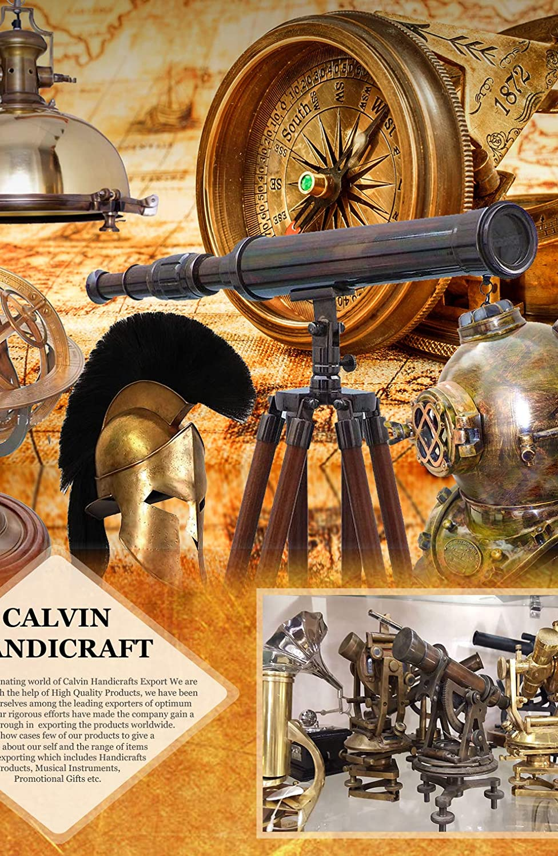 Generic Handcrfats telescopio de Doble Barril de latón con trípode  Regalos Náuticos  Antigüedad náutica  