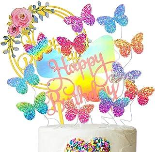 JAHEMU Kuchen Topper Schmetterling Tortendeko Geburtstag Happy Birthday Topper Blumen Kuchendeko Cupcake Topper für Hochzeit Baby Shower Kinder Party Dekoration, 12 Stück