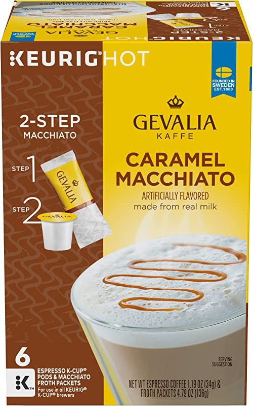 Gevalia Caramel Macchiato Keurig K Cup Coffee Pods Froth Packets 6 Count