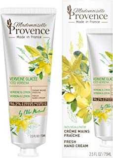 Mademoiselle Provence Lemon Verbena Shea Butter Hand Cream, Rejuvenating, Nourishing and Moisturizing Natural Hand Lotion, Cruelty Free, Vegan, Made in France, 2.5 fl oz