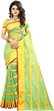 The Fashion Outlets Women's Cotton Silk Manipuri Saree with Blouse (Green Gold)