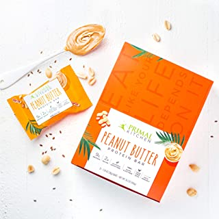 Primal Kitchen Peanut Butter Protein Bars (12 Pack) - Contains 9 Grams of Protein & Made with Cage Free Eggs, Coconut Oil,...