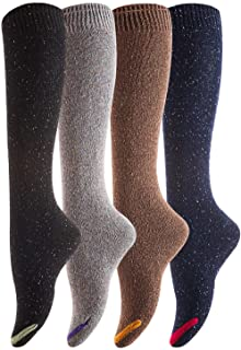 Lovely Annie Women's 4 Pairs Pack Knee High Cotton Boot Socks 6-9(4 Color)