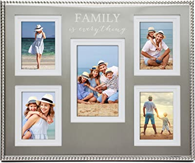 MIMOSA MOMENTS Beaded Edge 5-Opening Metal Picture Frame with Laser Engraving Expression, Family Collage Picture Frame (Family is Everything)