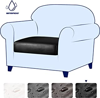 subrtex Spandex Elastic PU Leather Couch Stretch Water-Proof Patio Durable Chair Cushion Slipcovers Furniture Protector Slip Cover for Settee Sofa Seat for Replacement in Living Room (Chair, Black)