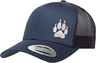 Love Sketches Embroidered Wolf Paw Trucker Snapback Cap Mesh Back Men and Women