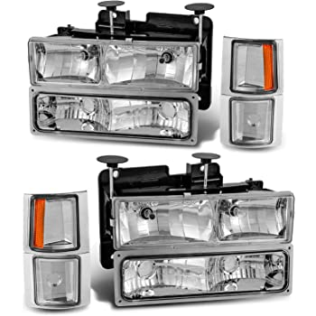 Spyder Auto HD-YD-CCK88-C Chevy C//K Series 1500//2500//3500//Chevy Tahoe//GMC C//K Series 1500//2500//3500//GMC Jimmy//GMC Yukon Chrome Crystal Glass Headlight
