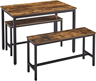 VASAGLE Dining Table Set with 2 Benches, 3 Pieces Set,...