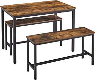 VASAGLE Dining Table Set with 2 Benches, 3 Pieces Set, Kitchen Table of 43.3 x 27.6 x 29.5 Inches, Bench of 38.2 x 11.8 x 19.