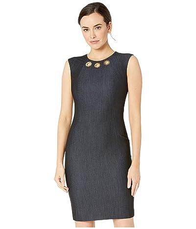 Calvin Klein Denim Sheath Dress w/ Grommet Detail (Blue) Women